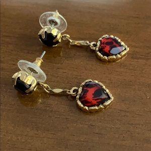 Betsey Johnson Red Leopard Heart Drop Earrings